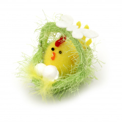 Easter Chicken in basket 50x40 mm for decoration