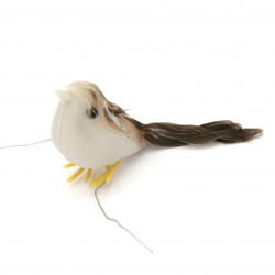 Plastic Sparrow for decoration 50x35x17 mm - 24 pieces