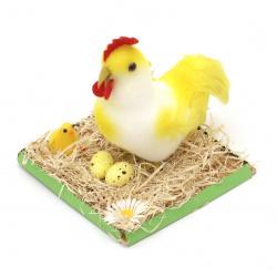 Фигурка кокошка в слама 150x140 мм за декорация