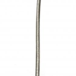 Banda de piele de căprioară 6x3,5 mm cu un rând de cristale negre -1 metru