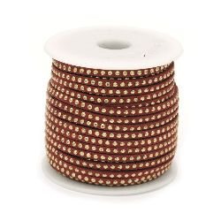 Suede tape 3x2 mm with aluminum cabochons red -1 meter