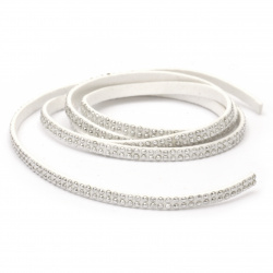 Suede tape 5x2 mm with aluminum cabochons white -1 meter