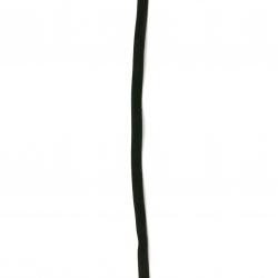 Συνθετικό σουέτ κορδόνι 6x1 mm μαύρο -5 κομμάτια x 1 μέτρο