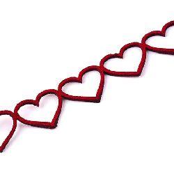 Funda velur 18x1,5 mm roșu  forma inima - 95 cm