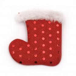 Figurină textilă 70x75 mm ciorap de Crăciun -2 bucăți