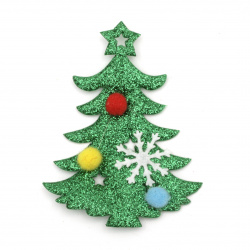 Figurine with brocade 80x75 mm Christmas tree with pompoms -2 pieces
