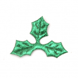 Leaf had textile 40x30 mm color green -20 pieces