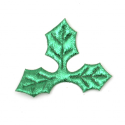 Leaf had textile 50x40 mm color green -10 pieces