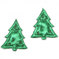 Christmas tree embossed 33x28 mm color green -10 pieces