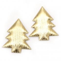 Christmas tree textile 35x30 mm gold color -10 pieces