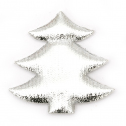 Christmas tree textile 61x61 mm color silver -2 pieces