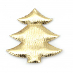 Christmas tree textile 61x61 mm color gold -2 pieces