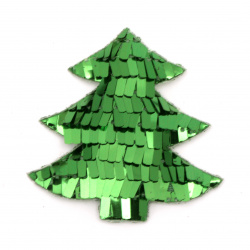Christmas tree textile with sequins 60x60 mm color green -2 pieces