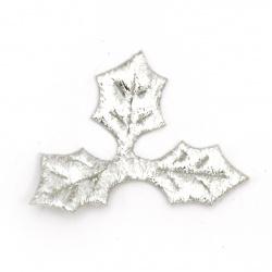 Frunza avea material textil 40x30 mm argintiu -20 bucăți