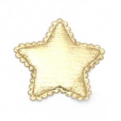 Star textile 37x30 mm gold color -10 pieces