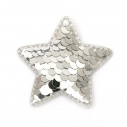 Stea textil și paiete 50x40 mm culoare argintiu -5 piese