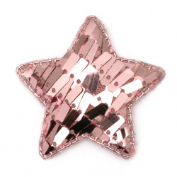Star textiles and sequins 50x40 mm pink -5 pieces