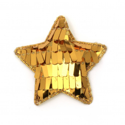 Star textiles and sequins gold 50x40 mm color yellow -5 pieces