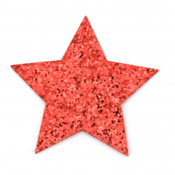 Star felt with leather and brocade 80x65 mm color red -2 pieces