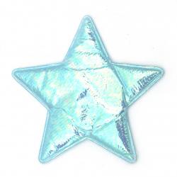 Stea textil 85x70 mm culoare albastru curcubeu -2 piese