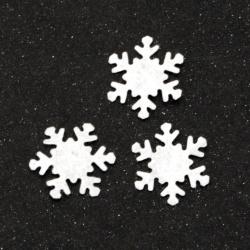 Material textil fulg de nea 17 mm culoare alb -50 bucăți