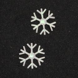 Snowflake textile 23 mm color white rainbow -50 pieces