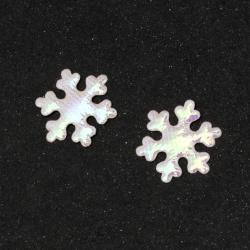 Fulgi de zăpadă textil de 25 mm culoare alb-curcubeu -50 bucăți