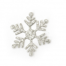 Fulgi de zăpadă brocadă textile 30 mm culoare argintiu -20 bucăți
