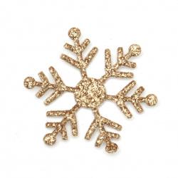 Fulgi de zăpadă brocadă textile 30 mm culoare auriu -20 piese