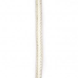 Συνθετικό σουέτ κορδόνι 10x4 mm λευκό με στρας -1,18 μέτρα