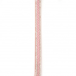 Suede ribbon 10x4 mm with two rows of crystals and shallow faux leather pink -1 meter