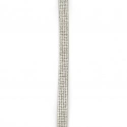 Συνθετικό σουέτ κορδόνι 10x3 mm μαύρο με στρας - 1 μέτρο