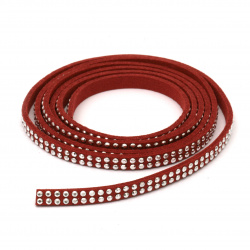 Suede tape 5x2 mm with aluminum cabochons red -1 meter