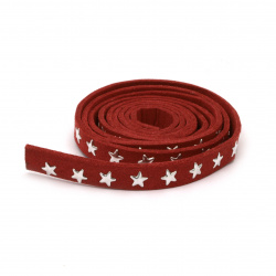 Suede tape 8x2 mm with aluminum cabochons red -1 meter