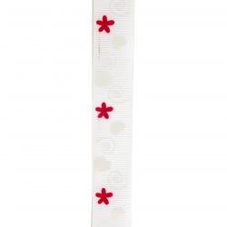 Ширит сатен 25 мм рипс бял сърца и цветя -2 метра