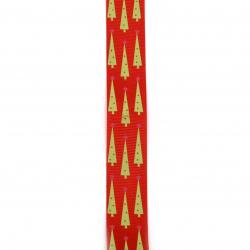Braid satin 25 mm corduroy red Christmas trees -2 meters
