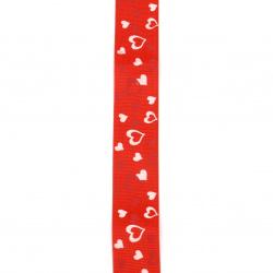 Braid satin 25 mm corduroy red hearts -2 meters