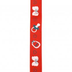 Ширит сатен 25 мм рипс червен бебе -2 метра