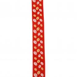 Braid satin 25 mm corduroy red leaves -2 meters