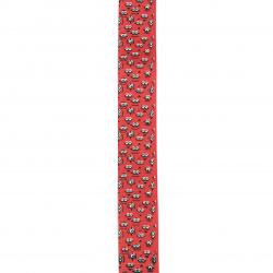 Braid satin 25 mm corduroy red print -2 meters