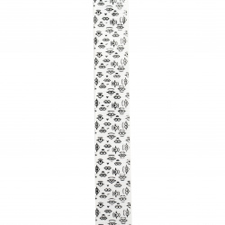Braid satin 25 mm corduroy white print -2 meters