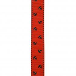 Ширит сатен 25 мм рипс червен котва -2 метра