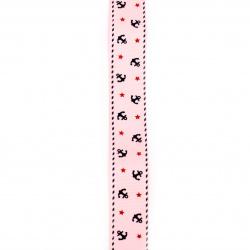 Ширит сатен 25 мм рипс розов котва -2 метра