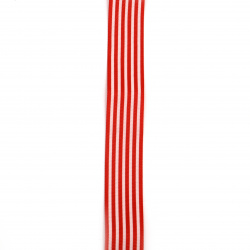 Сатенен ширит 25 мм рипс червен райе -2 метра