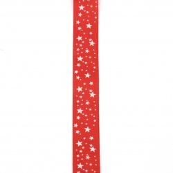Braid satin 25 mm corduroy red stars -2 meters