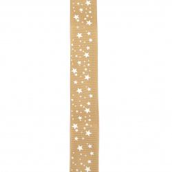 Braid satin 25 mm corduroy brown light stars -2 meters