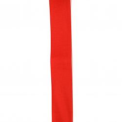 Braid satin 25 mm corduroy red -2 meters