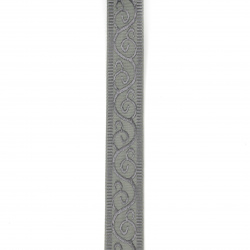 Braid satin 25 mm corduroy gray with ornament -2 meters
