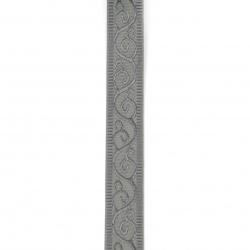 Ширит сатен 25 мм рипс сив с орнамент -2 метра