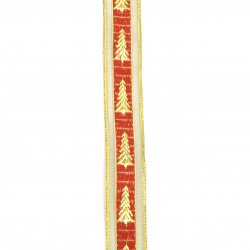 Braid organza and satin 25 mm red with lame gold Christmas tree -2 meters